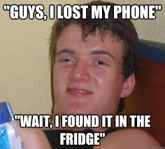 "guys, i lost my phone"" ""wait, i found it in the fridge"" - 10 Guy ... via Relatably.com"