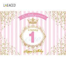 <b>Laeacco</b> Happy 1st Birthday Our little <b>Princess</b> Golden Border Scene
