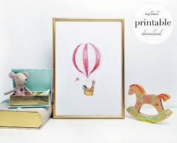 <b>Cute Animal</b> Red Hot <b>Air Balloon</b> Printable illustration wall | Etsy