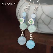 Summer colors nature stones vintage <b>earrings handmade</b> shell ...