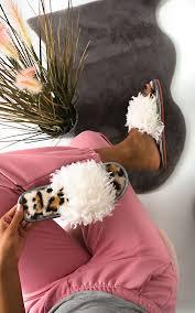 <b>Curly</b> Faux Fur Leopard <b>Print</b> Slippers in Leopard | ikrush