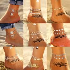 11 <b>New Fashion Bohemian</b> Anklet Set For Women Gold Leaves ...