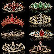 Big <b>Queen</b> Princess <b>Crown</b> Diadem Green Red <b>Rhinestone</b> Gold ...