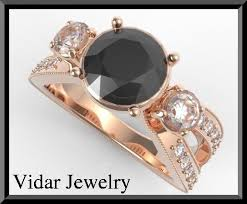 Rose Gold <b>Black Diamond</b> Engagement <b>Ring</b>,Unique Engagement ...