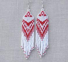 Red and White Earrings. Native American <b>Beaded</b> Earrings Inspired ...