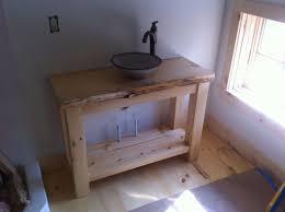 washstand bathroom pine: rustic pine vanity with vessel sink
