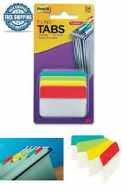 Post-it Tabs, 2 in. Angled <b>Solid</b>, <b>4</b>-<b>Colors</b>, 24-Tabs File Folder Sheet ...