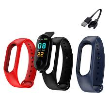 <b>M3 Waterproof</b> Smart Watch Bracelet replace strap White Black Blue ...