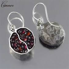 Vintage <b>Red Garnet Ring</b> Silver Color <b>Natural</b> Stone <b>Rings</b> for ...