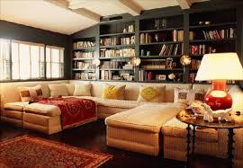 Living Room With Bookcase And Bookcase Ideas In Cozy Living Room Design With Mixture Classic