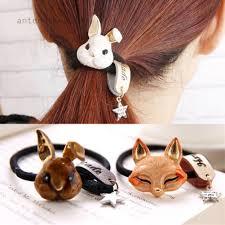 9Colors <b>Women Headwear</b> Rabbit Fox Cat <b>Bows</b> Rope Ring Elastic ...