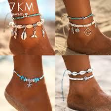 Starfish Pendant Anklets <b>2019</b> For Women <b>New</b> Stone Beads Shell ...