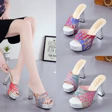 <b>Slippers Women Summer New</b> High Heeled Sandals Sandals and ...