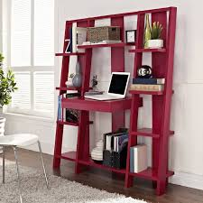 stunning ladder shelves with red accentuate combined square laptop table organizer base file storage and white paneling wall also soft fur rug in laminate bookshelf file storage wall