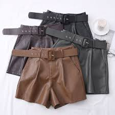 <b>2021 New PU Leather</b> Shorts Women Shorts All match Sashes Wide ...