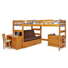 Loft Bed With Sofa Woodcrest Heartland Futon Bunk Bed With Extra Loft Honey Pine
