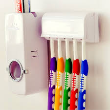 <b>Automatic Toothpaste Dispenser</b> + 5 Toothbrush Holder Set With ...