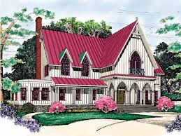 Gothic Revival House Plans at Dream Home Source   Victorian Style    Imitating the great cathedrals and castles of Europe  the Gothic Revival overtook the United States during the Victorian era
