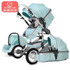 Luxury baby stroller 3 in 1 <b>High landscape stroller can</b> sit reclining ...