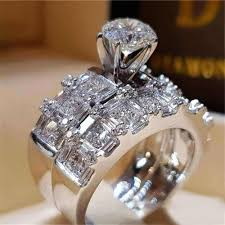 Crystal Female Big Stone <b>Ring</b> Set Boho <b>Fashion</b> Queen 925 Silver ...