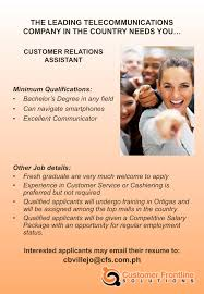 customer relations assistant for south luzon area job hiring are you having a hard time finding a job in your area we can help you customer frontline solutions a subdsidiary of meralco and bayad center needs 80