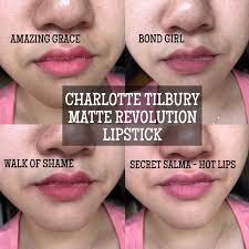 Charlotte Tilbury matte revolution <b>lipstick</b> swatches. Clockwise ...