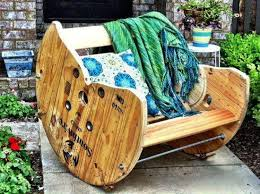 cable spool rocking chair i want one amazoncom furniture 62quot industrial wood