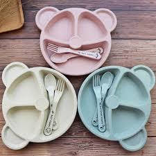 Natural <b>Wheat Straw</b> Bowl Baby <b>Cartoon Tableware</b> Set Toddler ...