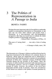 the politics of representation in a passage to springer a passage to a passage to