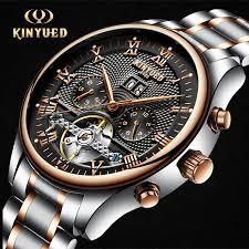 <b>KINYUED Men's</b> Self Wind Tourbillon <b>Mechanical</b> Watches Water ...