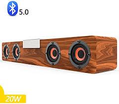 Speaker-EJOYDUTY <b>Wooden</b> Bluetooth Surround Sound Bar <b>20W</b> ...