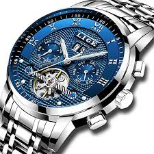 <b>LIGE</b> Men's Waterproof Stainless Steel <b>Automatic Mechanical</b> Watch ...