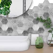 funlife 20 20cm 10pcs 7 87 7 87inch pvc waterproof self adhesive wallpaper bathroom mediterranean tile sticker wall decal ts002