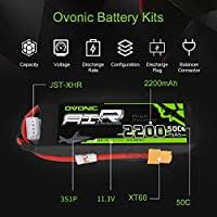 <b>OVONIC</b> Lipo RC Battery 2 Packs <b>11.1V</b> 2200mAh 50C <b>3S</b> with ...