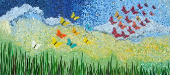 mosaic wall decor: custom made wall decor butterfly mosaic ii