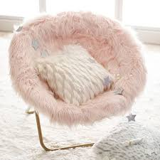 Himalayan <b>Faux</b>-<b>Fur</b> Blush Hang-A-<b>Round Chair</b> | Pottery Barn Teen