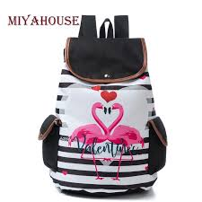 Miyahouse Striped And Flamingo Print <b>Backpack Women</b> Fashion ...