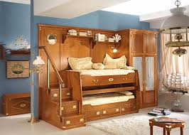 awesome kids boy bedroom furniture design showing unique brown oak bunk beds with combined tall wardrobe chairs bedrooms unique