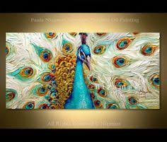 <b>100</b>% <b>hand</b> painted discount modern canvas peacock painting ...