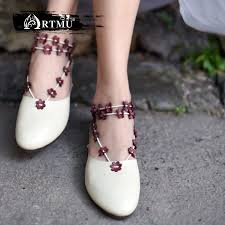 <b>Artmu Original New Flowers</b> Simple Flat Shoes Genuine Leather ...