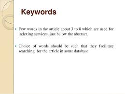 How to write keywords in research paper