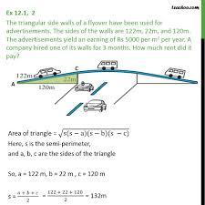 Ex 12.1, 2 - The triangular side walls of a flyover - Ex 12.1