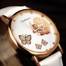 <b>Fashion Butterfly</b> Flower Dial Watch Leather Diamond Women ...