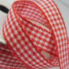 Red <b>Gingham Check Ribbon</b>. 5M x 10mm. Decorative <b>Ribbon</b>. For ...
