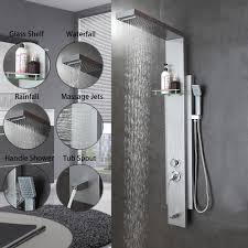 golden bathroom shower column faucet wall: multi function shower panel bathroom shower faucet rain massage system faucet with jets amp tub