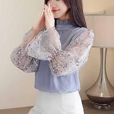 <b>2019 spring women's new</b> OL printed ruffled lace Chiffon shirt ...