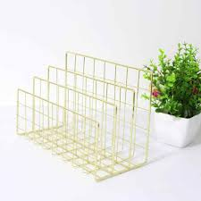 Durable and Convenient Wrought <b>Iron Metal Three Grid</b> Bookshelf ...