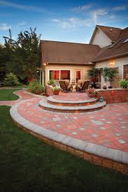 outdoor fireplace paver patio: ep henry village square autumn with charcoal accents coventry wall autumn