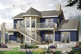 House plan W A detail from DrummondHousePlans comRear view   BASE MODEL Traditional home   panoramic views  to bedrooms and