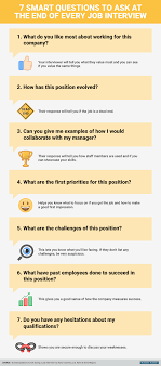 infographic seven smart questions to ask at the end of every job questions to ask at the end of job interviews click to view full infographic